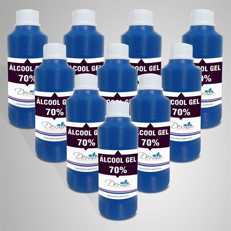 frascos de alcool 70%