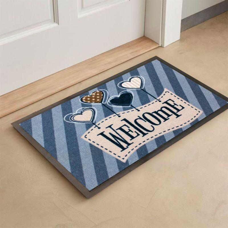 tapete de porta escrito welcome